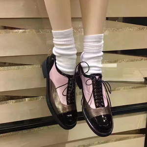 2017 British Ancient Ways Round Head Spell Color Pink Gold Lace-Up Oxford Shoes For Women Scarpe Oxford Chaussures