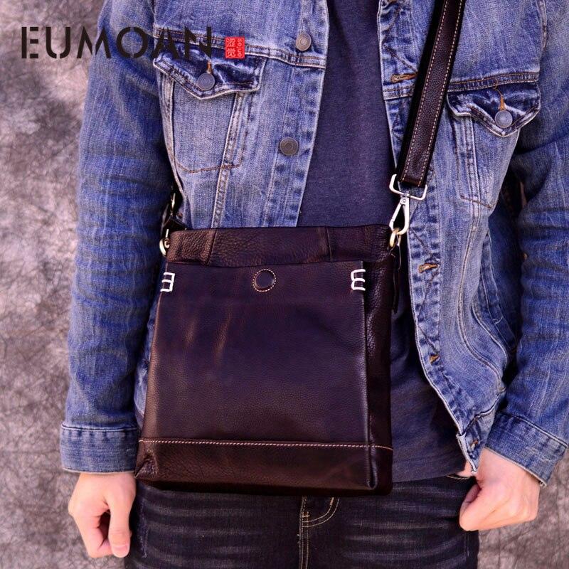 EUMOAN sac à bandoulière en cuir fait main pour hommes sac messenger première couche en cuir de vachette rétro vertical sac pour hommes marée décontracté