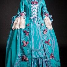 Изготовленное на заказ платье Рококо Мария Антуанетта Великолепное вечернее платье в стиле колоний 18 век