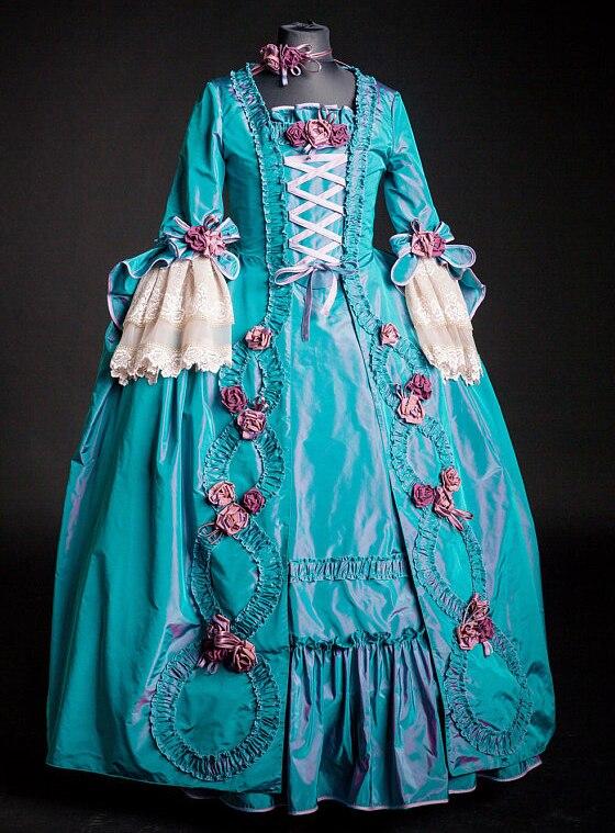 Пользовательские Рококо Мария Антуанетта Платье великолепные Colonial 18th века тесьмой вечернее платье