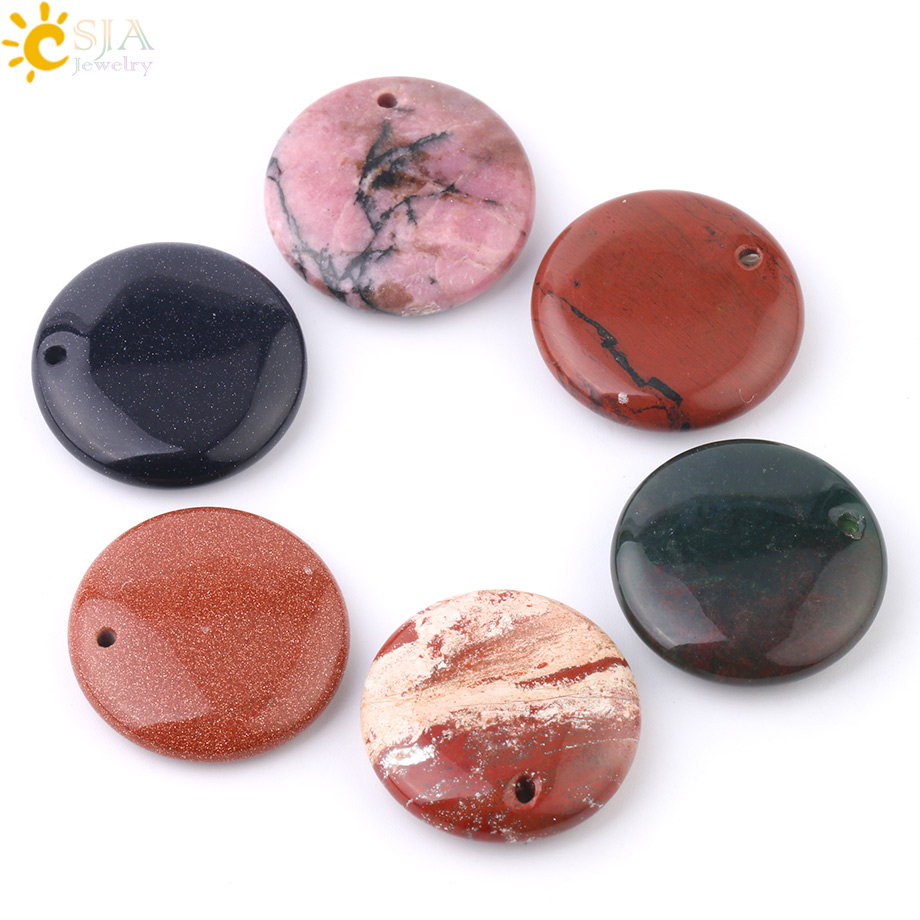 CSJA 26x26mm Natural Stone Pendant Drilling Hole Round Flat Beads Accessories for Handmade Women Men Necklace Charm Jewelry F933