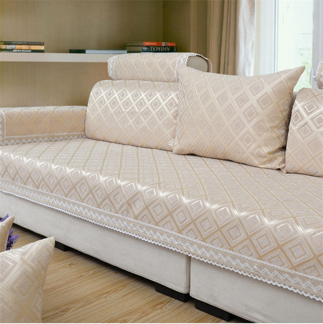 Modern Brief Plaid Sofa Covers Chenille Jacquard Fabric Cover On Sofas Flocked Cushion Couch Universal