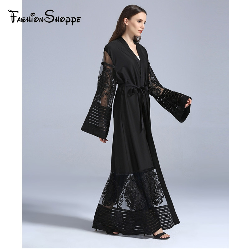 Muslim Maxi Dress Open Abaya Embroidery Lace Cardigan Jilbab Long Robe Gowns Jalabiya Loose Style Middle East Islamic Clothing