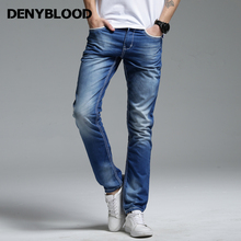Thick Stitch Decoration Mens Distressed Jeans Ripped 3D Crinkle Whiskers Male Fashion Vintage Washed Casual Pants 142015