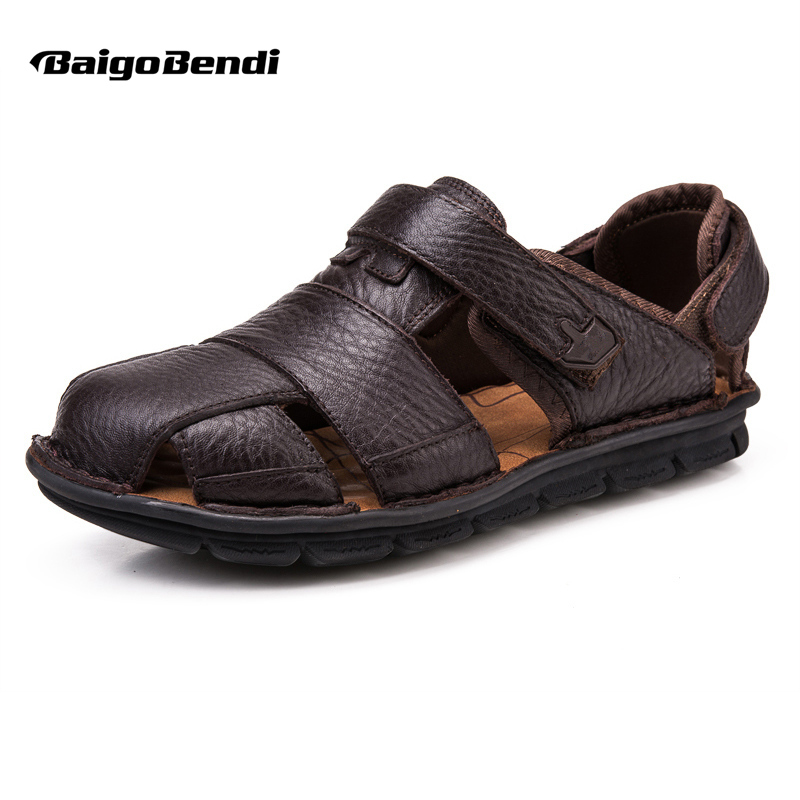 US 6-12 Big Size 45 46 Summer Mens Real Leather Casual Close Toe Hook Loop Sandals Comfy Sport Outdoor Hollowed-Out Beach Shoes