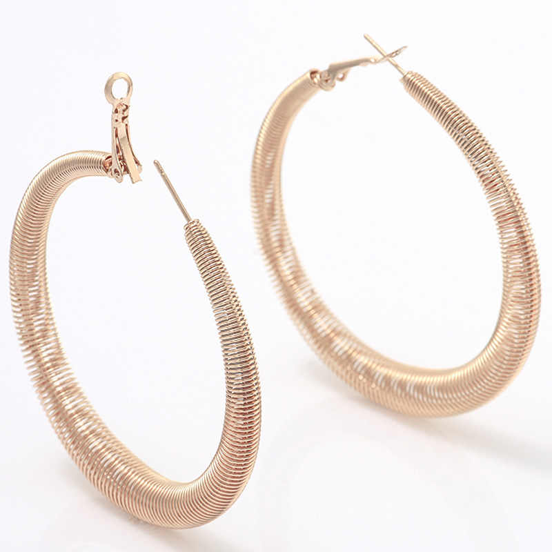 Boho ขนาดใหญ่รอบฤดูใบไม้ผลิต่างหูผู้หญิงต่างหู Rose Gold Hoop ต่างหูหญิงเครื่องประดับ Kupe
