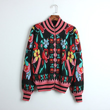 New 2019 spring knitting jackets coat  Fashion womens floral cardigans G161