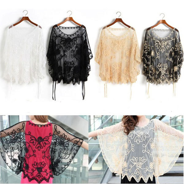 2015 Fashion Sexy Women Sheer Floral Embroidery Lace Crochet Blouse Tee Tops Plus Size See Through Blouse Free Shipping