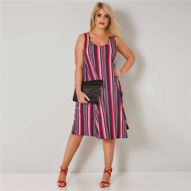 2018 Summer Hot Sale Plus Size Dresses For Womem Fashion Striped