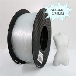 Filamento plástico transparente do abs 1.75mm 3d do filamento da impressora do filamento 3d do abs 1 kg/0.5 kg/0.1 kg