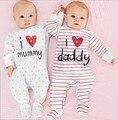 2017 nuevo estilo bebé ropa de Bebé mameluco del mono de la raya de manga Larga pijamas del bebé muchachas del niño del bebé ropa de los niños traje