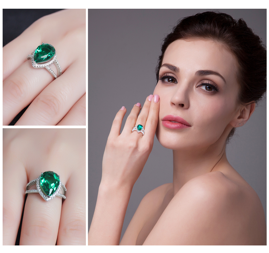 JewelryPalace Pear 4ct Green Created Emerald Engagement Wedding Ring ...