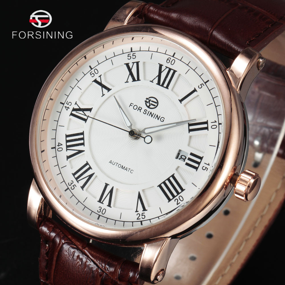 FORSINING Luxury Men Automatic Watches Rome Auto Date Gold Case Business Mechanical Watch Brown Leather Mens Dress Clock Gift forsining date month display rose golden case mens watches top brand luxury automatic watch clock men casual fashion clock watch