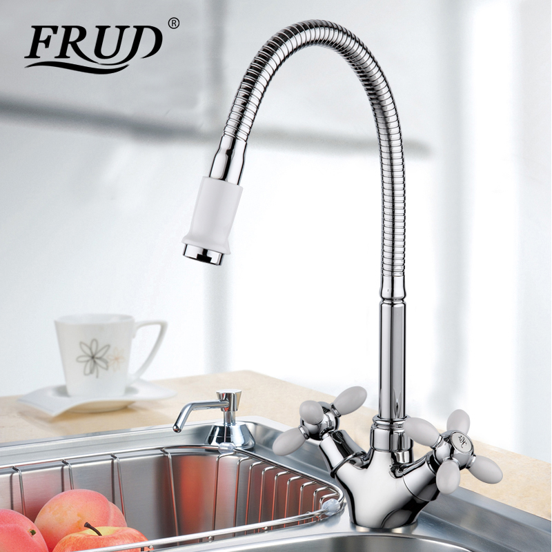 Frud Solid Kitchen Mixer Cold And Hot Flexible Kitchen Tap Single Lever Hole Water Tap Kitchen Faucet Torneira Cozinha R43127-9