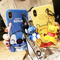 Super cute Stitch mini Pooh dinosaur lanyard+tand silicone personality drop case for iphone 6 7 8 Plus X XR XS MAS phone cases