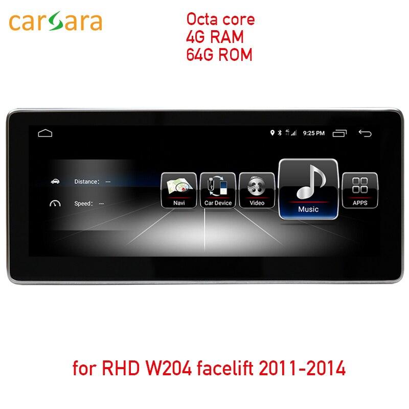 4G RAM 64G ROM Android tela sensível ao toque para a movimentação da mão direita W204 2011-2014 display de 10.25
