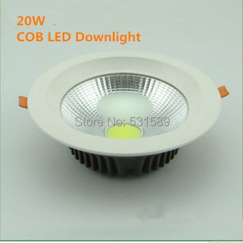 30PCS/LOT  Free Shipping AC90v-220V COB 20W LED Downlight Epistar Chip 100-110 lm/W Warm White/Cold White