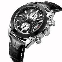 JEDIR Мужчины Хронограф Функция Спортивные Часы Мужчины Люксовый Бренд Часы Натуральная Кожа Кварцевые Часы Мужчины Часы relogio masculino