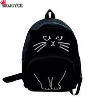 MOJOYCE Lovely Cat Printing Backpack Women Canvas Backpack School Bags For Teenagers Ladies Casual Cute Rucksack