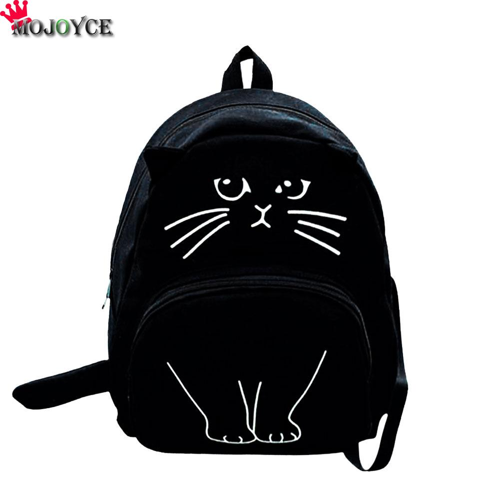 MOJOYCE Lovely Cat Printing Backpack Women Canvas Backpack School Bags For Teenagers Ladies Casual Cute Rucksack Bookbags womens fashion cute girls sequins backpack paillette leisure school bookbags leather backpack ladies school bags for teenagers