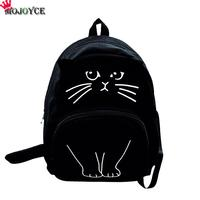 MOJOYCE Lovely Cat Printing Backpack Women Canvas Backpack School Bags For Teenagers Ladies Casual Cute Rucksack