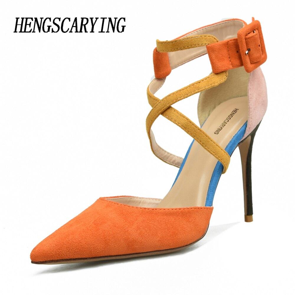 1b2969107178 HENGSCARYING-2018-Summer-Luxury-Designer-Women-Sexy-10cm-High-Heel -Cross-tied-Buckle-Sandals-Suede-Pumps.jpg