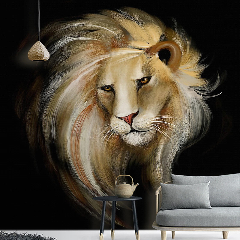 Custom 3D Photo Wallpaper European Style Hand Painted Lion Wall Painting Classic Living Room Study Room Bedroom Wall Decor Mural