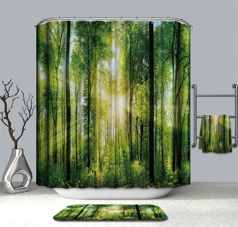 Image 5 - VOZRO Shower Curtain Of Natural Quality Of Waterproof Polyester 2 M 3d Decoration Simple Shower Douchegordijn Youtube Bape Groot-in Shower Curtains from Home & Garden