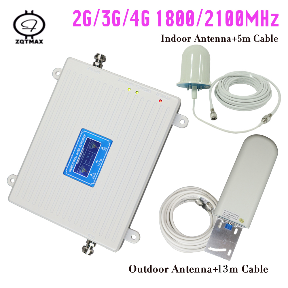 Best Quality DUAL BAND 1800 / 2100 2G 3G 4G Smart Cellular Phone Signal Repeater Mobile Signal Booster Amplifier For Home Use