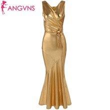ANGVNS 2017 Vestido De Festa Sexy Elegant V-Neck Sequin Mermaid Long Evening Gowns Ruched Dresses Formal Vestidos with Brooch