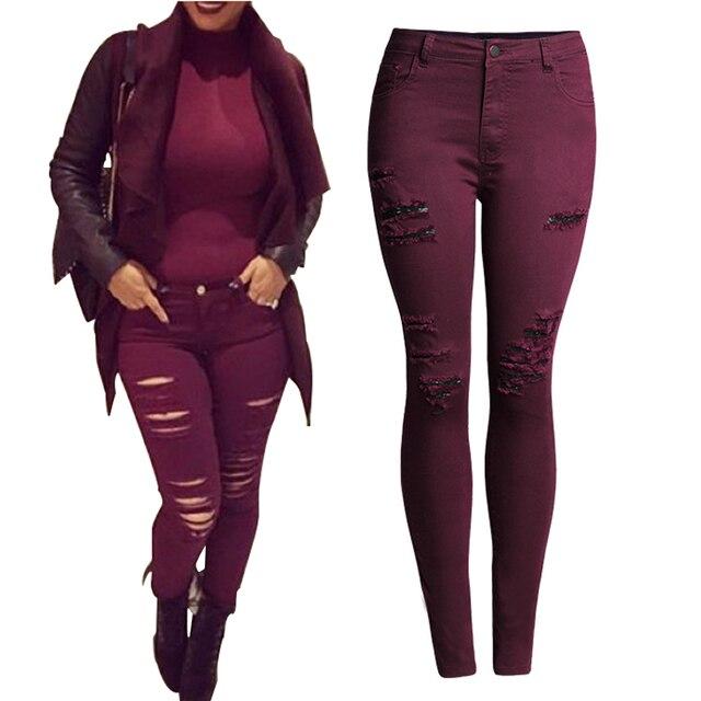 2017 New Arrival Skinny Jeans Women High Waist Elastic Slim Pencil Pants Hole Design Women Denim Pants