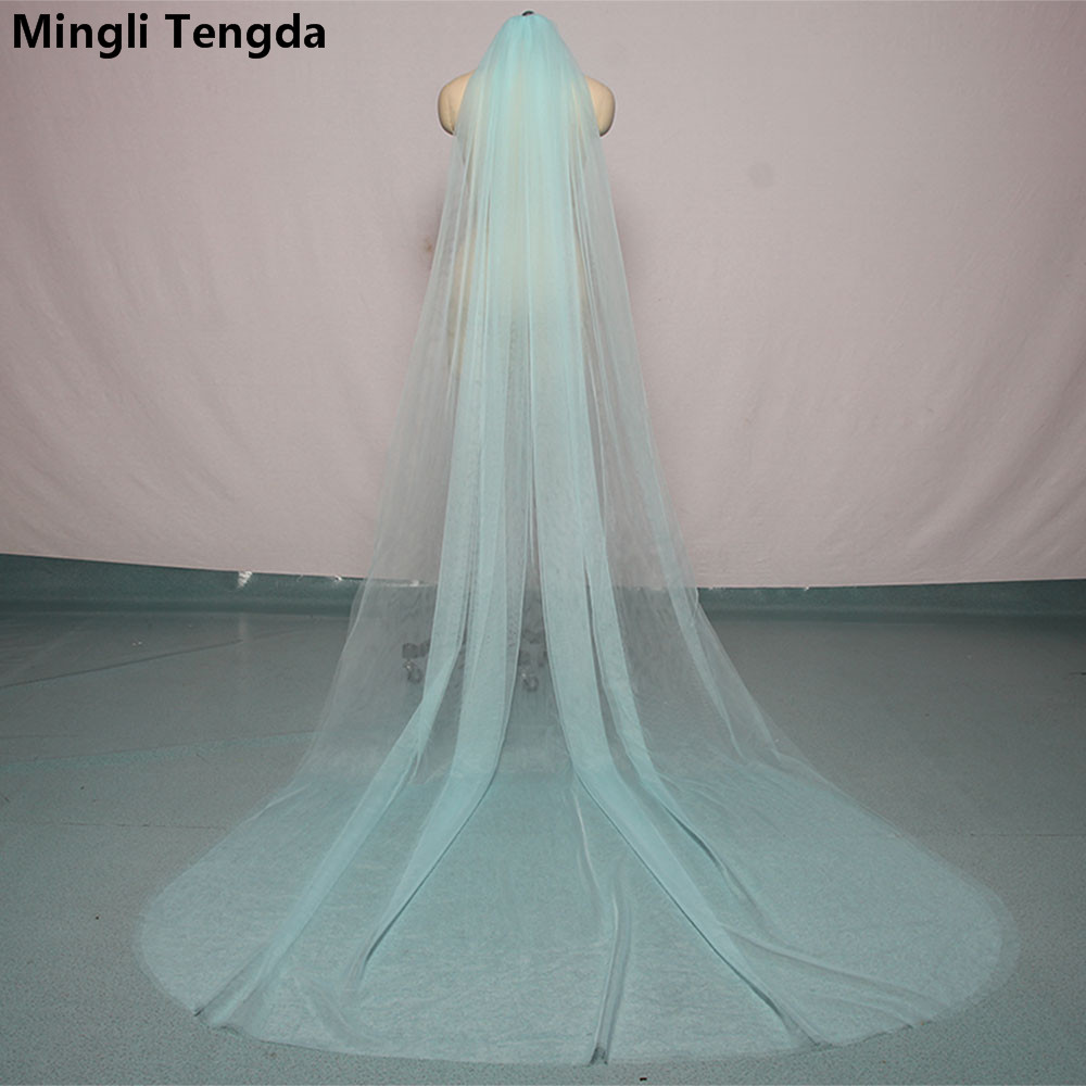 Mingli Tengda Sky Blue Bridal Veil Long Cut Edge Double Layer 3 Meters Long Wedding Veil Elegant Lady Cathedral Veil Dusty Rose