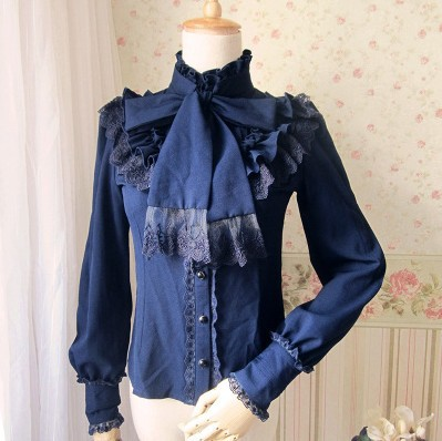 White Ornate Lace Corset Back Victorian Steampunk Top Long Sleeve Blouse blusas 4 color