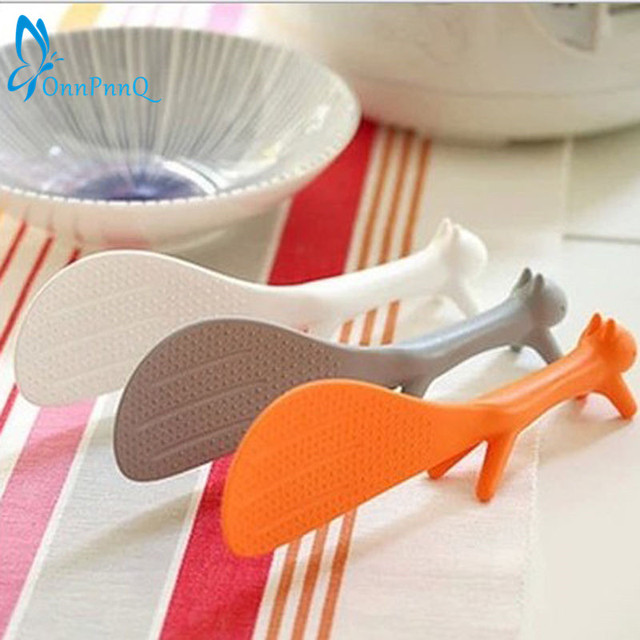 OnnPnnQ 1 PCS Lovely Kitchen Supplie Squirrel Shaped Ladle Non Stick Rice Paddle Meal Spoon