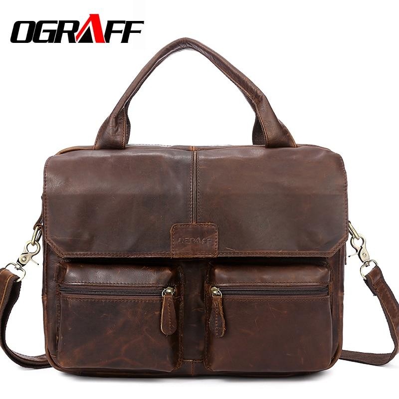 OGRAFF Handbag Men Bag Genuine Leather Briefcases Shoulder Bags Laptop Tote men Crossbody Messenger Bags Handbags designer Bag