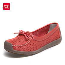 WeiDeng Casual Loafers Women Genuine Leather Flat Boat Hollow Out Slip On Flat Breathable Lace Up Soft Gommino Summer 2018 Shoes