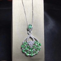 Uloveido Natural Emerald Dancing Girl Fairy Necklace for Women, 925 Sterling Silver, 3*4mm*14 Pcs Velvet Box Certificate FN186