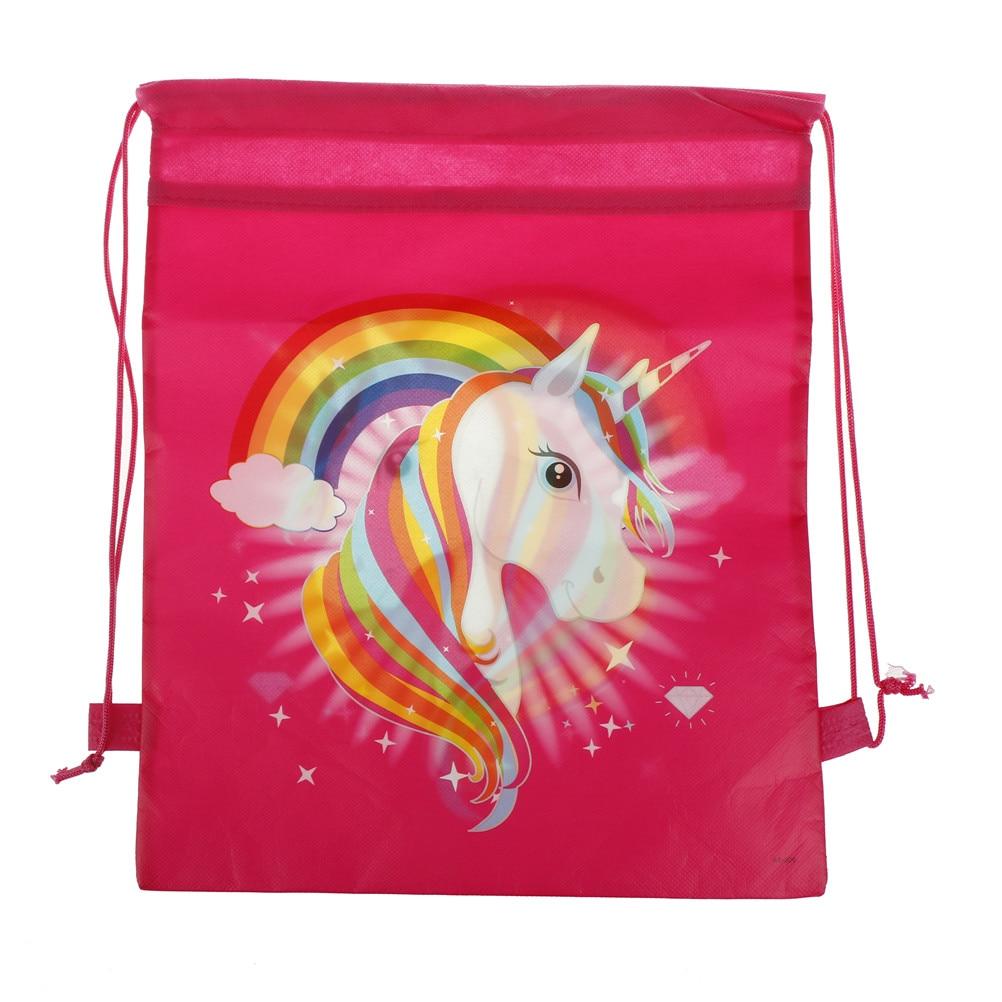 1PCS Gift Bag 35*28cm String Bags Kids Back Bags Supplies Cartoon Unicorn Theme Drawstring Bags