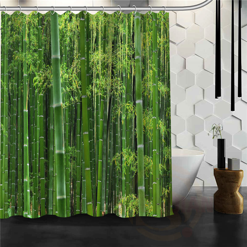 kopen goedkoop hot product moderne groene bamboe douchegordijn patroon custom bad gordijn stof polyester mooie mooie gordijnen online