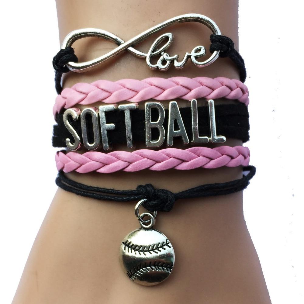 Drop Shipping Infinity Love Softball Charm Bracelet Custom Black With Pink  Leather Handmade Sports Jewelry