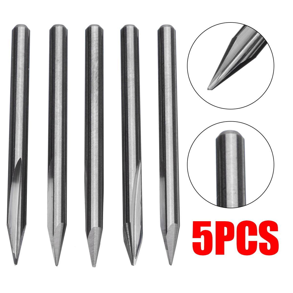 5pcs/set Tungsten Carbide Milling Cutters Carbide Engraving CNC Bit Router Tool 3.175 30 Degree Tip End Mill