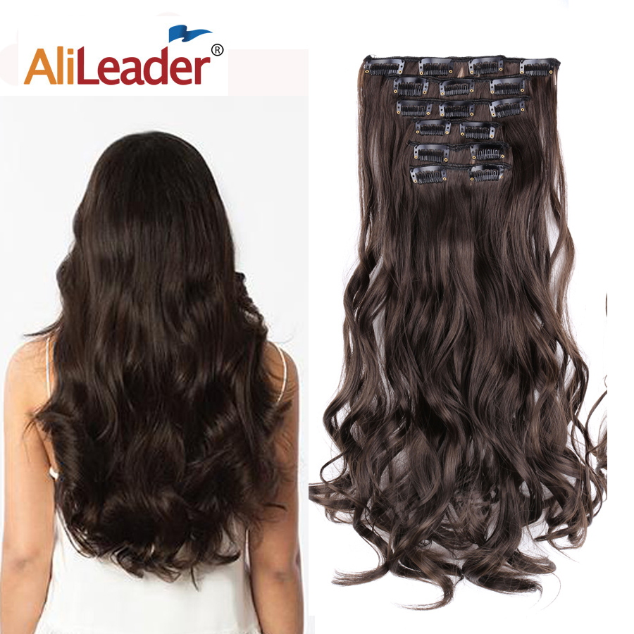 Alileader 140g 16clips Long Wavy Hairstyles Synthetic Ombre Clip In Hair Extension Heat Resistant Fake Hairpieces Blond Brown