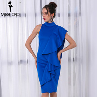 Missord 2018 Sexy Women O Neck Off Shoulder Fold Solid Color Split Personality Party Dress FT8572