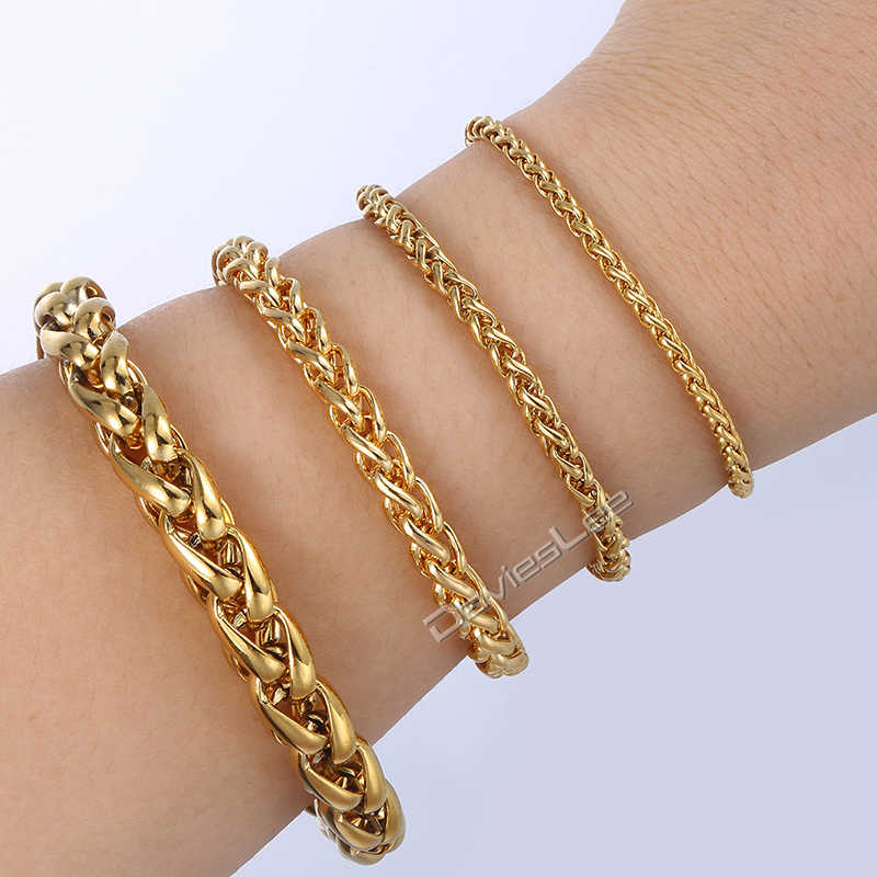 3/3.5/6/9.5mm Braided Wheat Bracelet for Men Women Gold Chain Stainless Steel Mens Bracelets Customize Wholesale Jewelry LKBM138