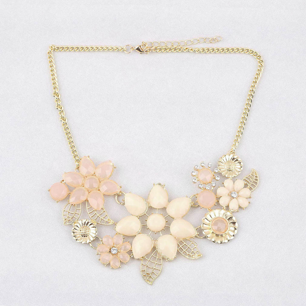 GENBOLI 2017 Fashion Elegant Women Pink Flower gold necklace ...
