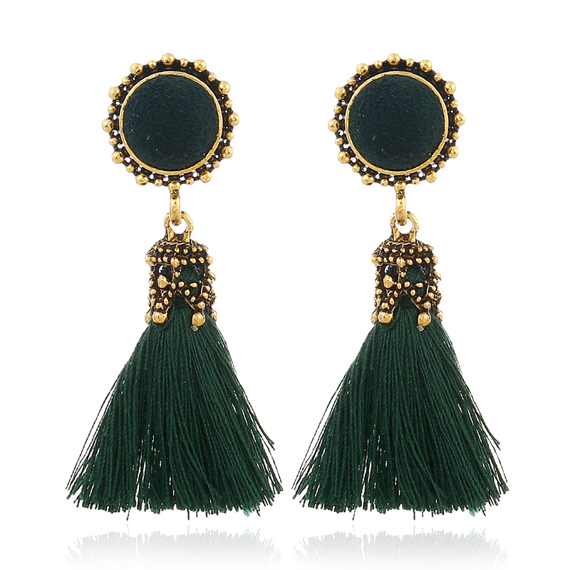 L H Handmade Female Tassel Earrings 2018 New Bohemia Cotton Fringed Vintage Long Drop Earrings For Women Elegant Fashion Jewelry in Drop Earrings from Jewelry Accessories