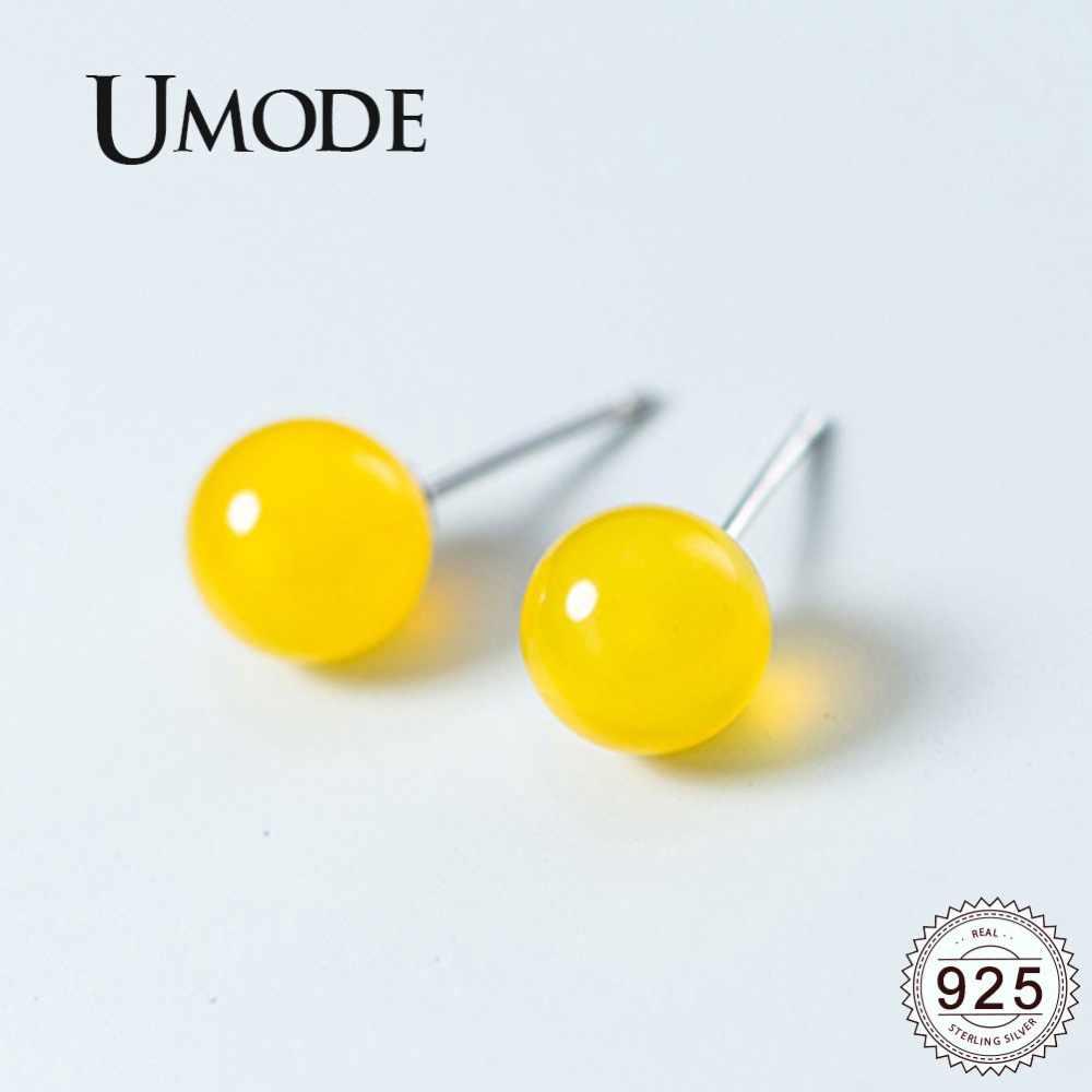 UMODE จริง 925 เงินสเตอร์ลิงต่างหูผู้หญิงสีเหลืองอาเกต 4-8 มม.ขนาดเล็กน่ารัก Ball Stud ต่างหูเครื่องประดับ ULE0497