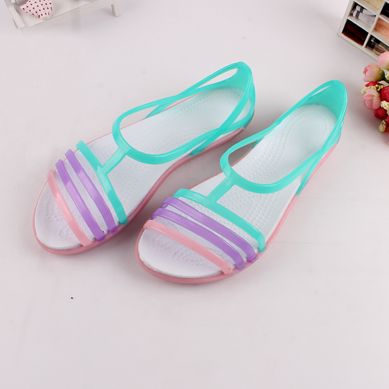 Summer Rainbow Jelly Shoes Woman Flats Sandalias Women Sandals New Candy Color Peep Toe Stappy Beach Valentine Mujer Slippers free shipping candy color jelly sandals new plastic chain beach shoes chain flat bottomed out sandals lace up chains women shoes