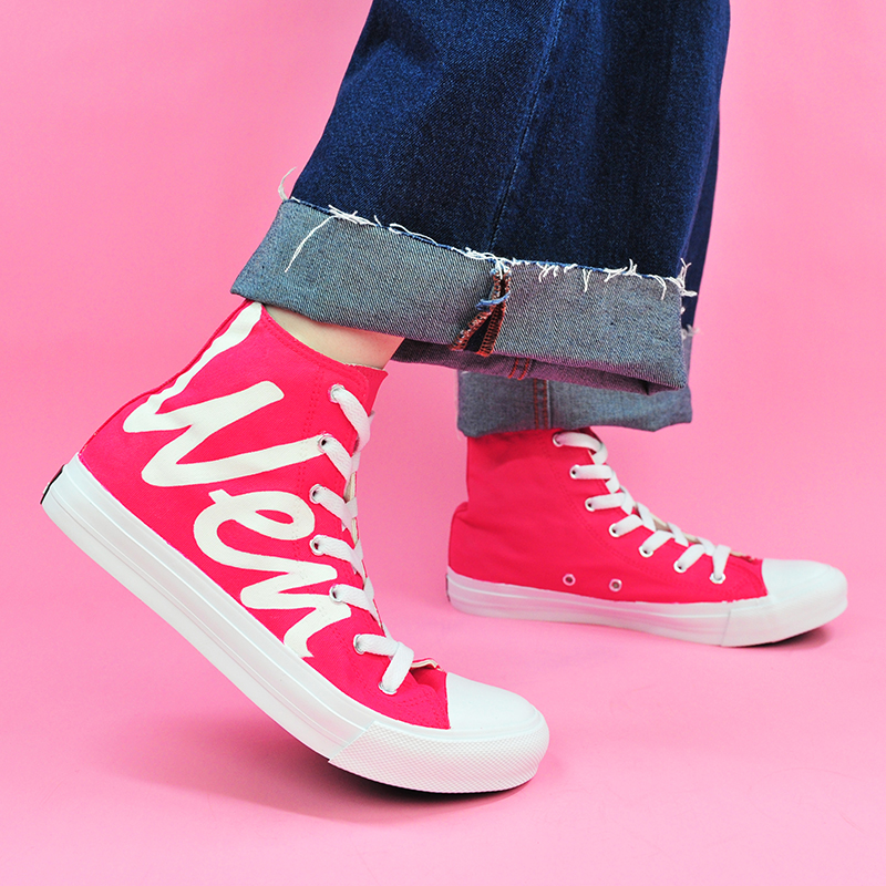 Wen Woman Shoes Girls DIY Rose Red Original Design Custom Canvas Shoes Hand Painted Shoes High