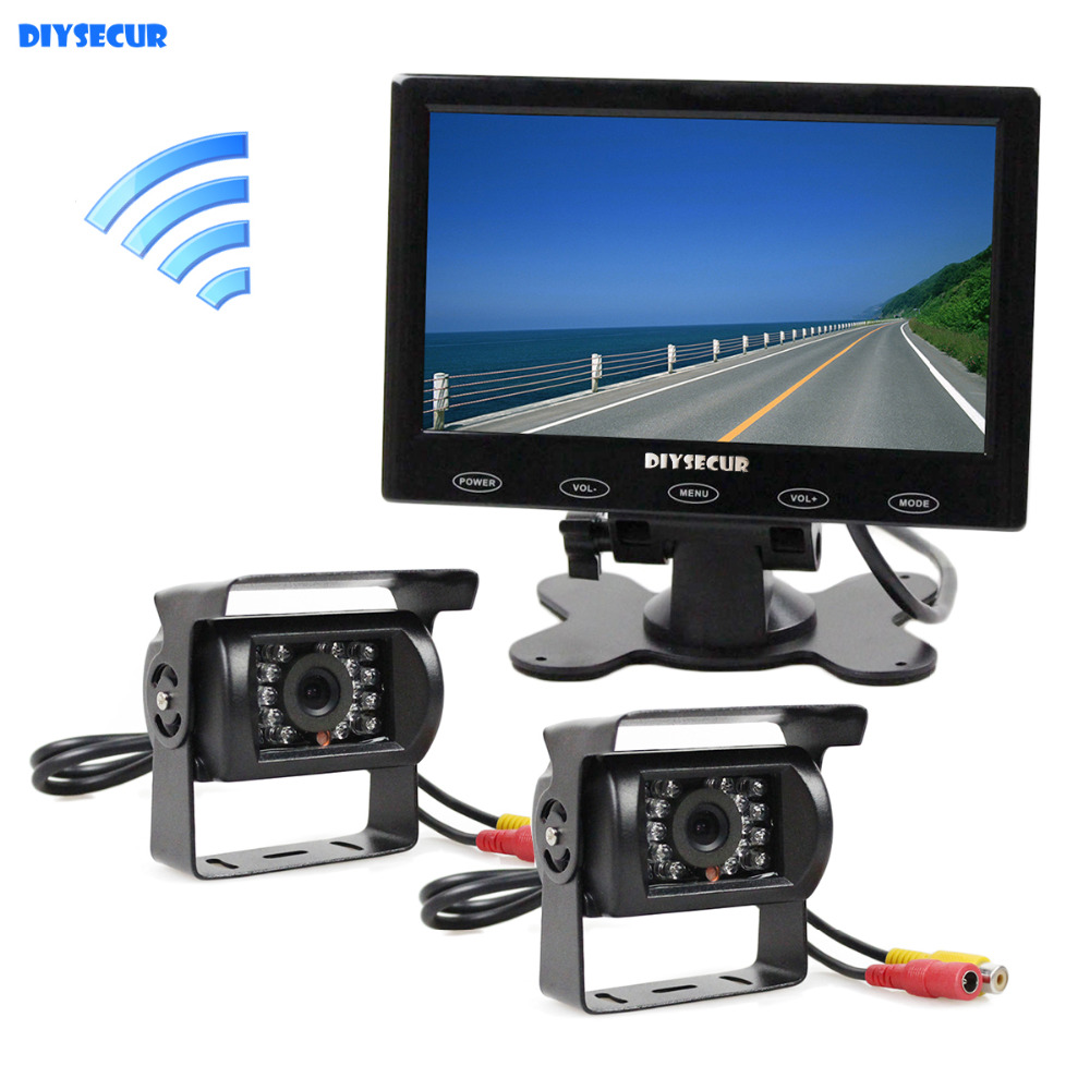 DIYSECUR Wireless 7 TFT Touch Screen Car Monitor + 2 x Wateproof IR Night Vision CCD Car Camera Semi Bus Caravan Truck 19 inch infrared multi touch screen overlay kit 2 points 19 ir touch frame